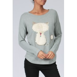PULL FINE SEQUIN CHAT FAUSSE FOURRURE